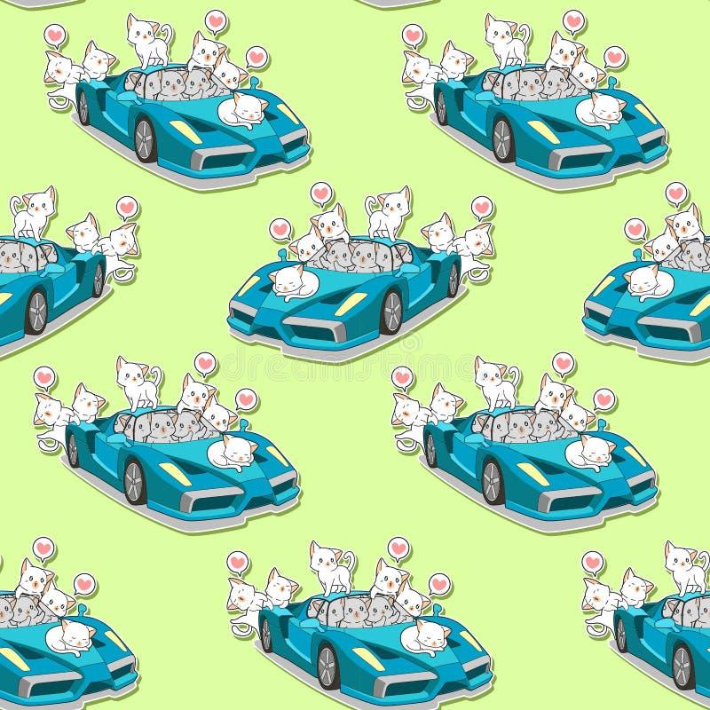 无缝的逗人喜爱的猫和蓝色超级汽车样式 向量例证