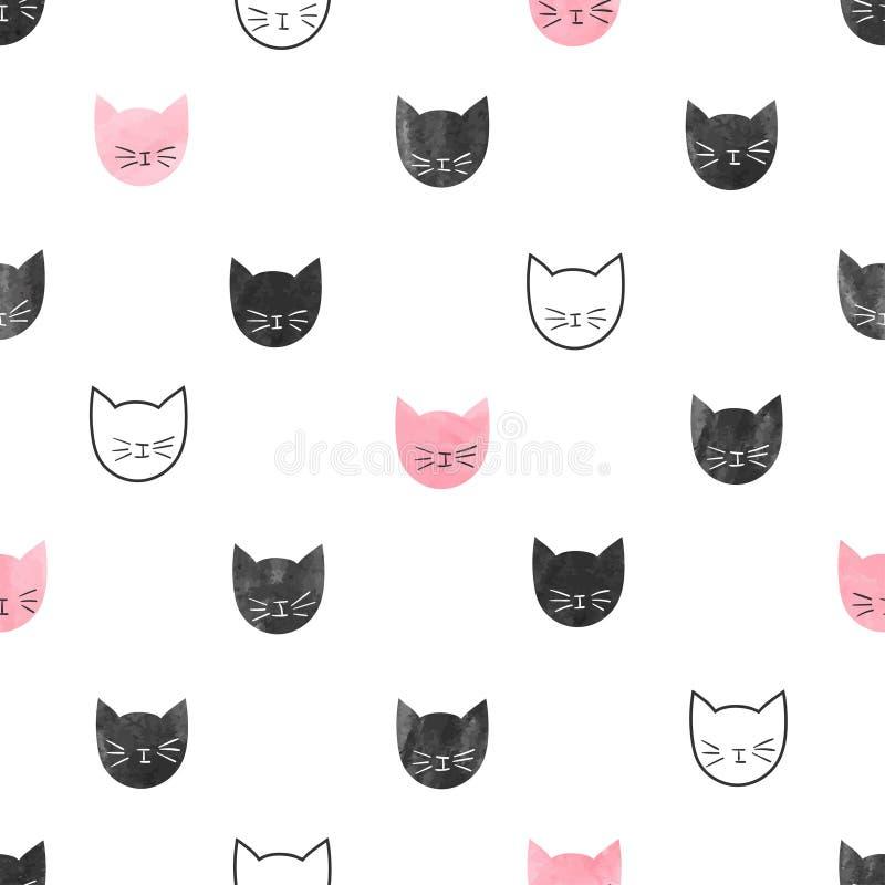 无缝的逗人喜爱的猫样式 皇族释放例证