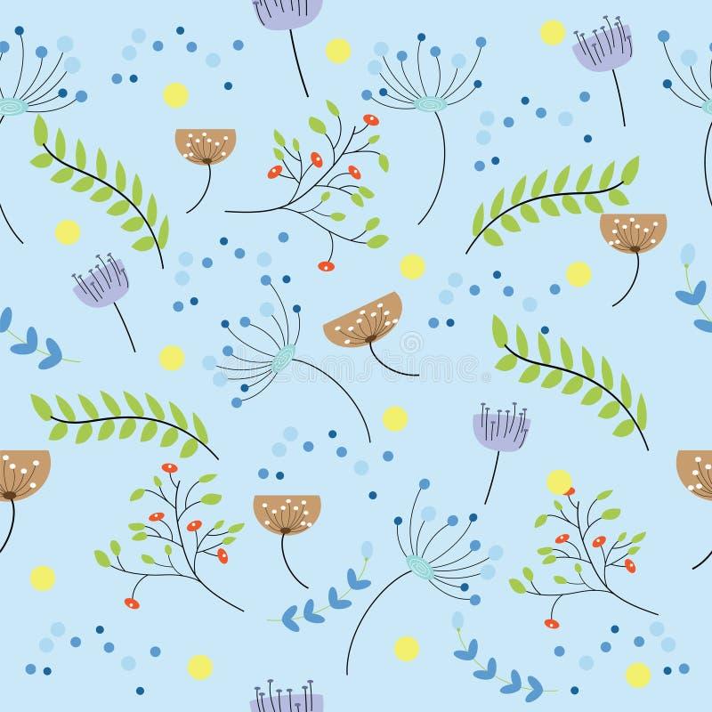 无缝的逗人喜爱的花卉样式在蓝色背景中混合了以不同小花 皇族释放例证