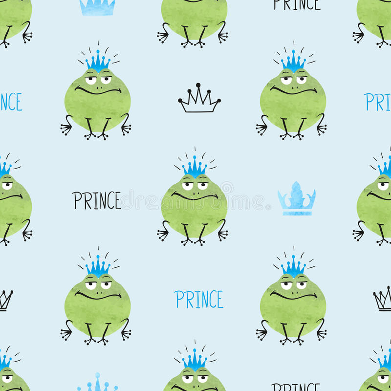 无缝的逗人喜爱的Frogs王子样式 皇族释放例证