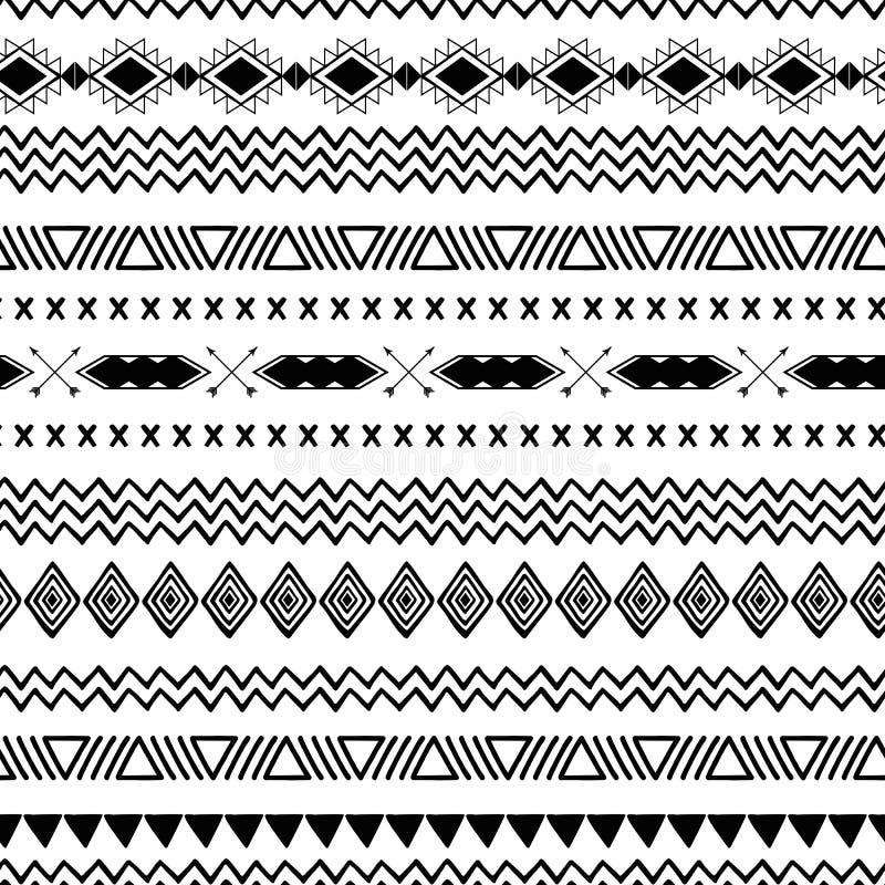 无缝的部族种族在黑白色颜色传染媒介的样式阿兹台克抽象背景墨西哥装饰纹理 向量例证