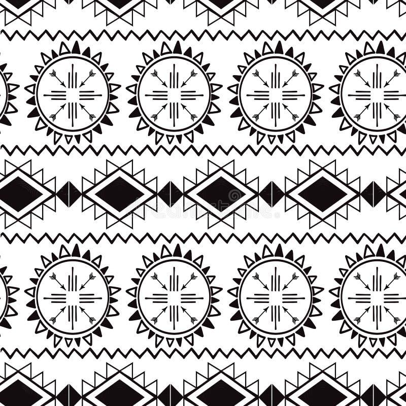 无缝的部族种族在黑白色颜色传染媒介的样式阿兹台克boho背景墨西哥装饰纹理 库存例证