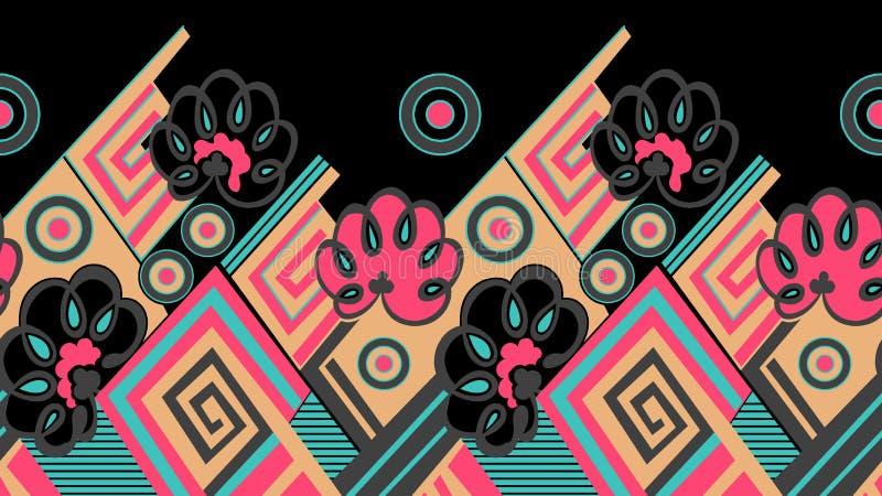 无缝的部族织物边界设计 库存例证
