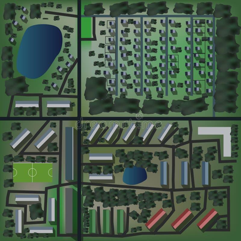 无缝的都市城市顶视图地图 皇族释放例证