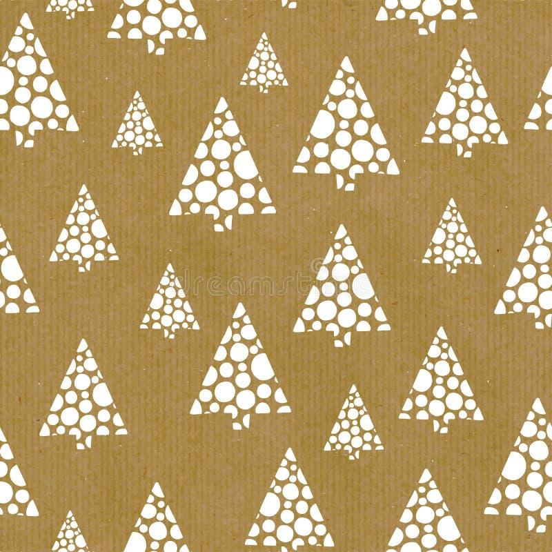 无缝的重复传染媒介样式摘要手拉的圣诞树白色在棕色工艺纸 伟大在圣诞节季节 卡片, 向量例证