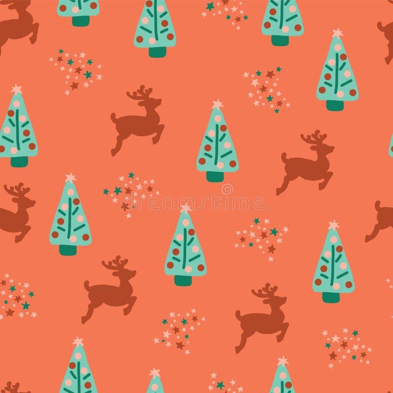 无缝的重复圣诞树驯鹿样式 向量例证