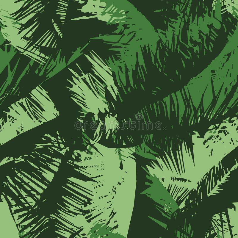 无缝的重复棕榈树机盖 皇族释放例证