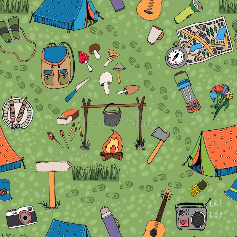 无缝的野营的背景传染媒介样式 向量例证