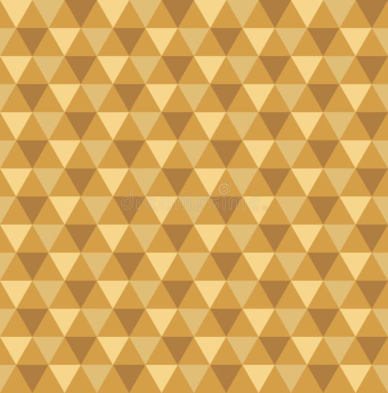 无缝的金黄几何三角样式背景 库存例证
