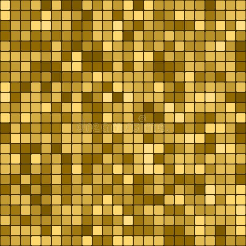 无缝的金黄抽象样式 几何印刷品组成由在黑暗的背景的金黄正方形 金马赛克的模仿 库存例证