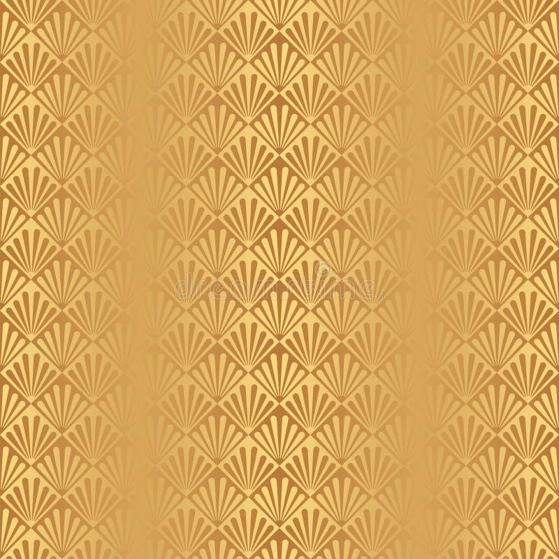 无缝的金黄艺术装饰壳样式背景 皇族释放例证