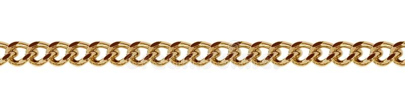 无缝的金黄金属链子 免版税库存图片