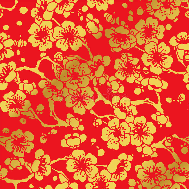 无缝的金黄中国背景十字架李子开花 向量例证