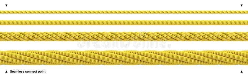 无缝的金黄绳索发光的金缆绳 库存例证