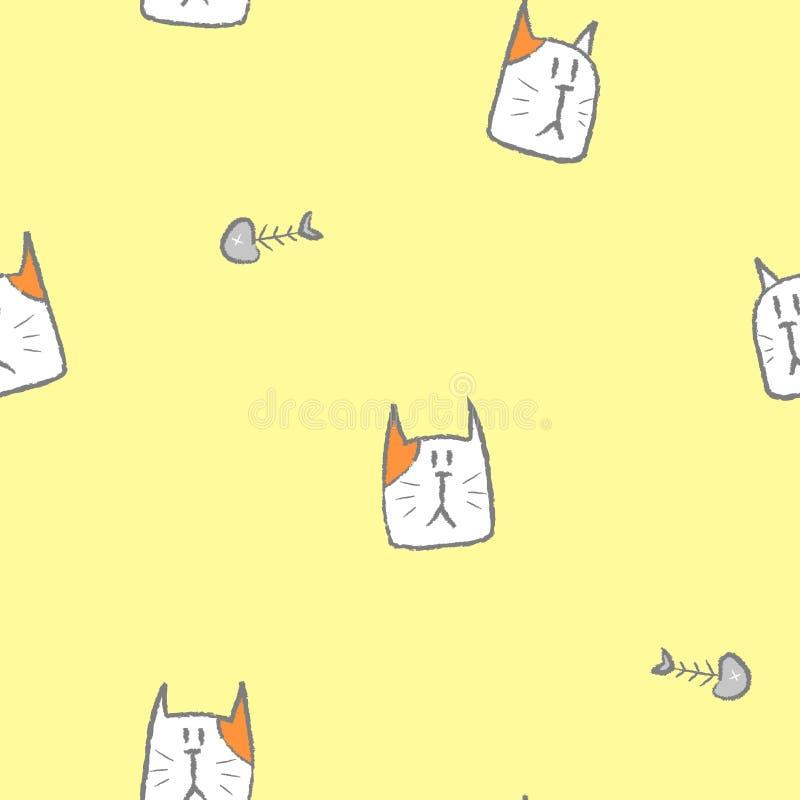 无缝的铅笔乱画手凹道线艺术猫与鱼骨的重复样式在黄色背景中 库存例证