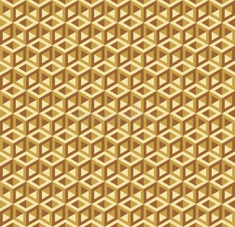 无缝的错觉凹陷空的金黄立方体框架样式纹理背景 库存例证