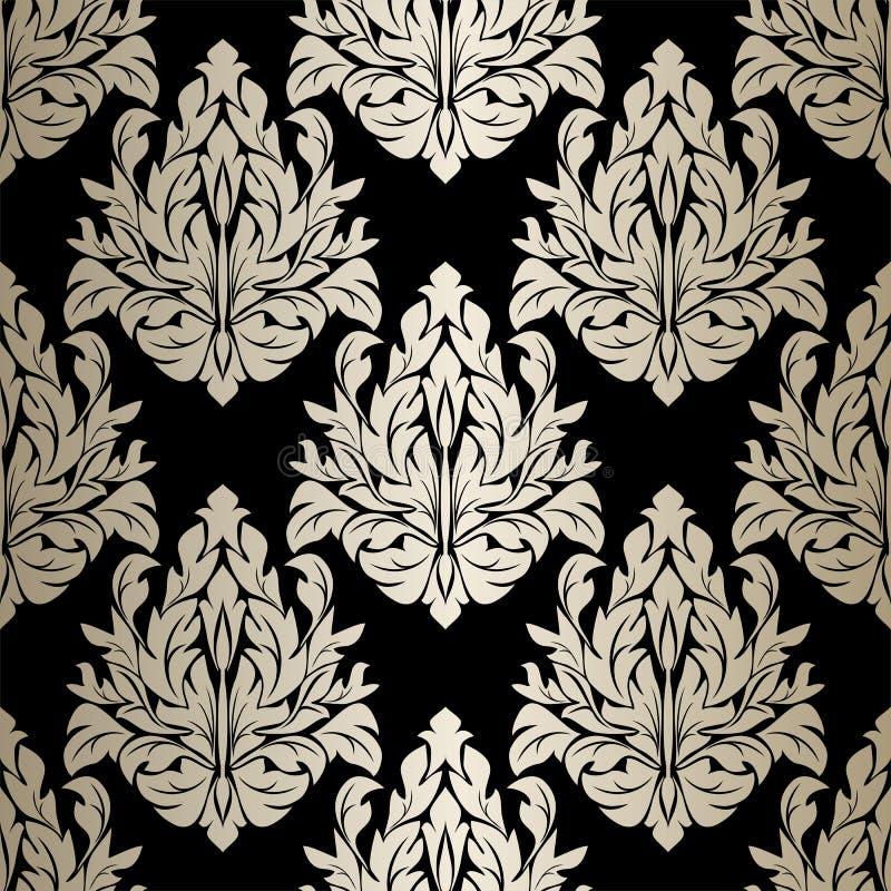 无缝的锦缎墙纸-在黑色的银色装饰品 向量例证