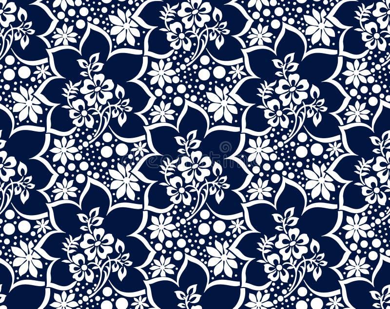 无缝的锦缎深蓝传染媒介墙纸 库存例证