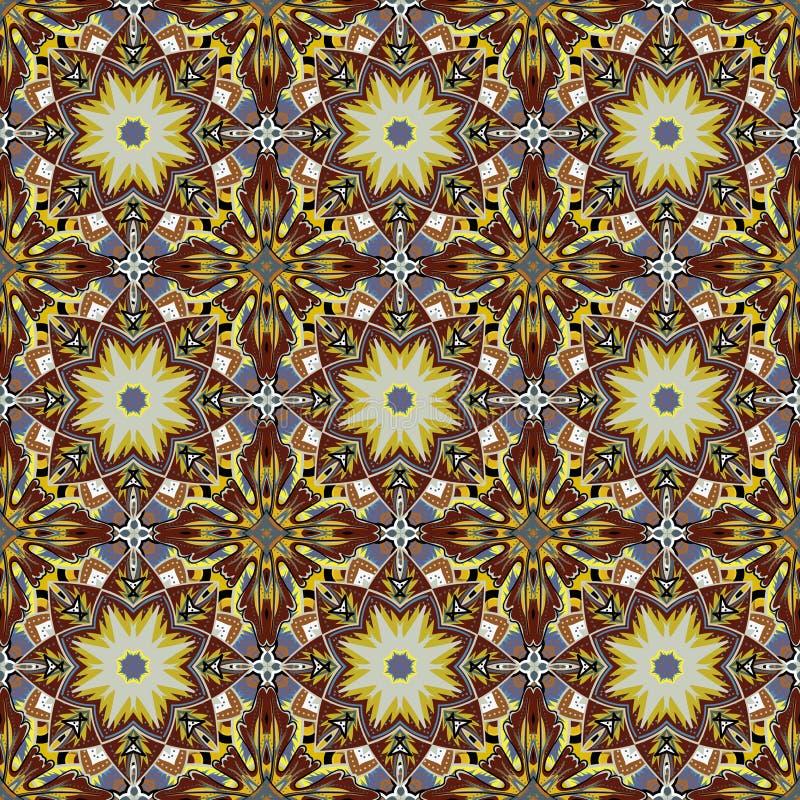 无缝的锦缎背景样式设计和墙纸由土耳其在传染媒介的纹理陶瓷砖制成 库存例证