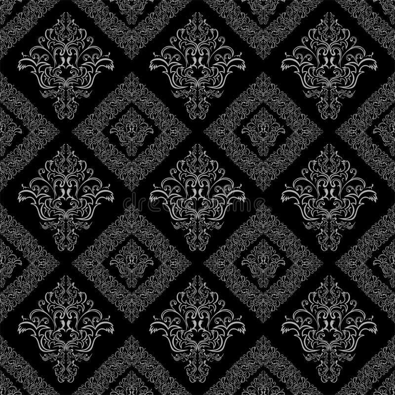 无缝的锦缎花卉几何墙纸 向量例证