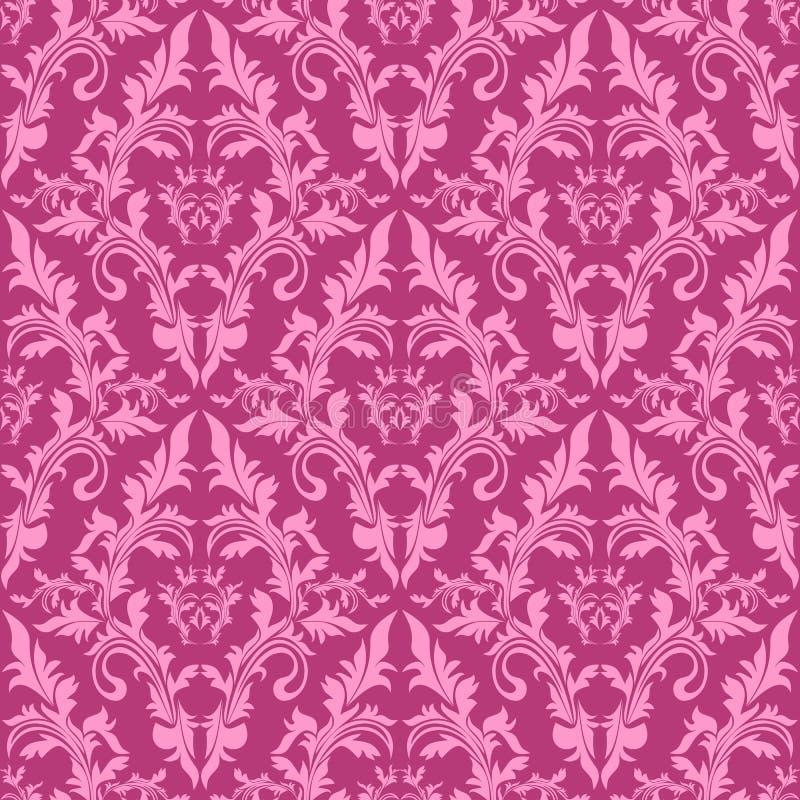 无缝的锦缎花卉样式在桃红色树荫下。 向量例证