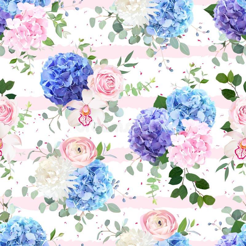无缝的镶边和被加点的传染媒介花卉样式 皇族释放例证
