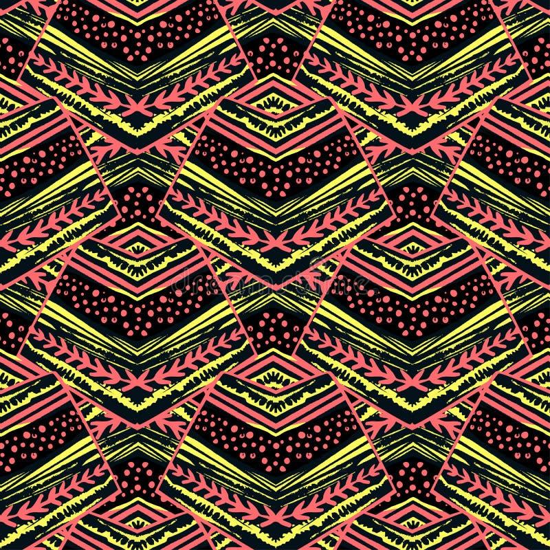 无缝的镶边花卉几何样式 与colo的时髦印刷品 免版税库存图片
