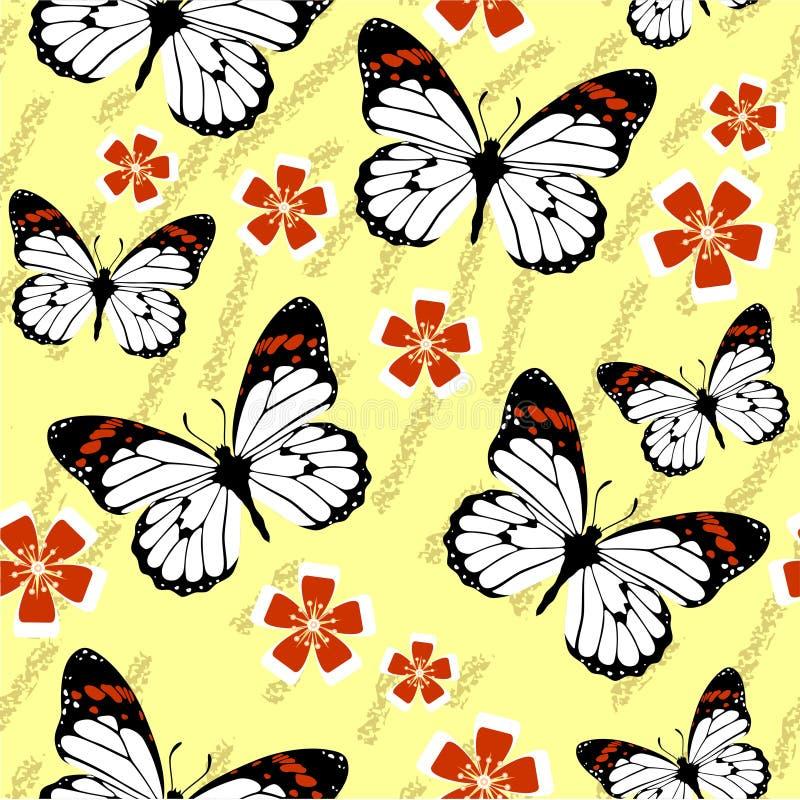 无缝的难看的东西蝴蝶纹理528 皇族释放例证