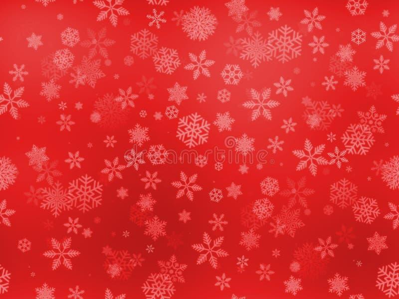 无缝的雪剥落仿造各种各样大和小型在红色梯度背景 免版税库存图片