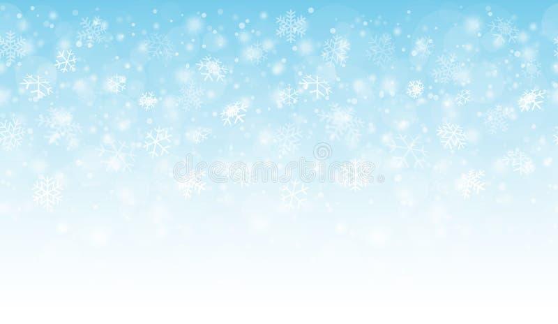 无缝的雪秋天背景 皇族释放例证