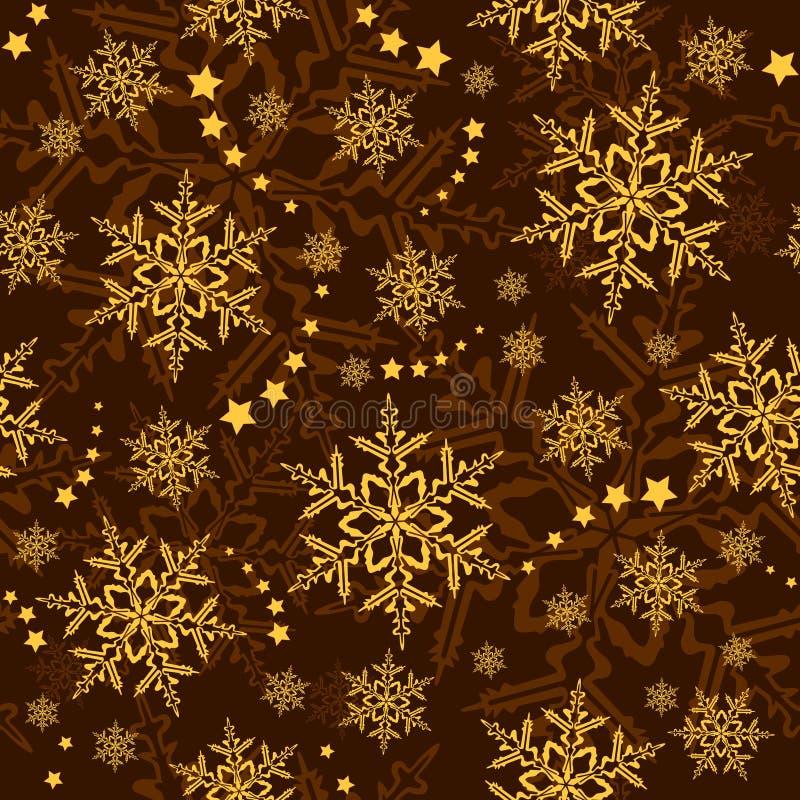 无缝的雪花星形贴墙纸冬天 库存例证