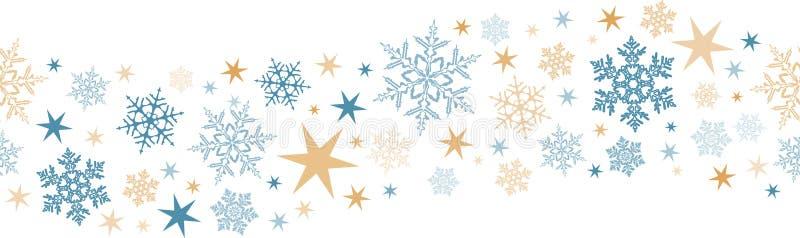 无缝的雪花,星边界 向量例证