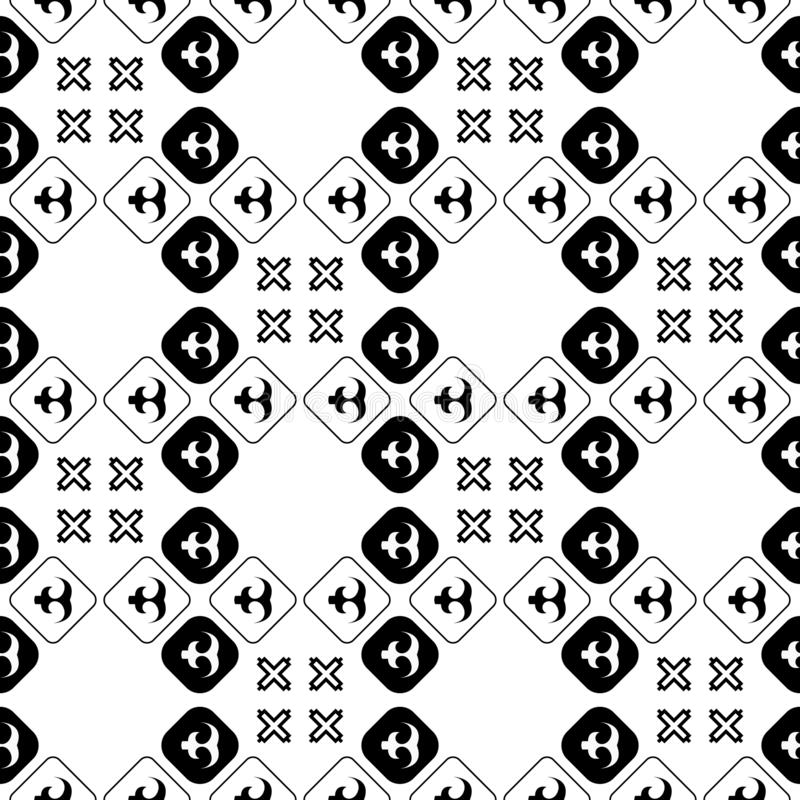 无缝的非洲Adinkra样式-黑白数字艺术礼节标志和屏幕打印国家和部落阿肯人  皇族释放例证