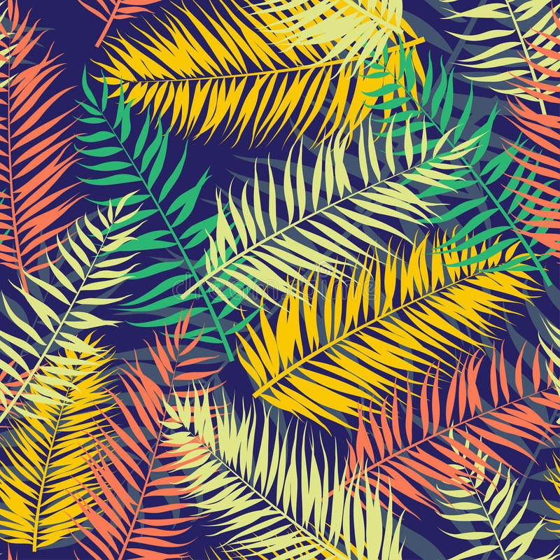 无缝的颜色棕榈叶样式 平的样式 库存例证