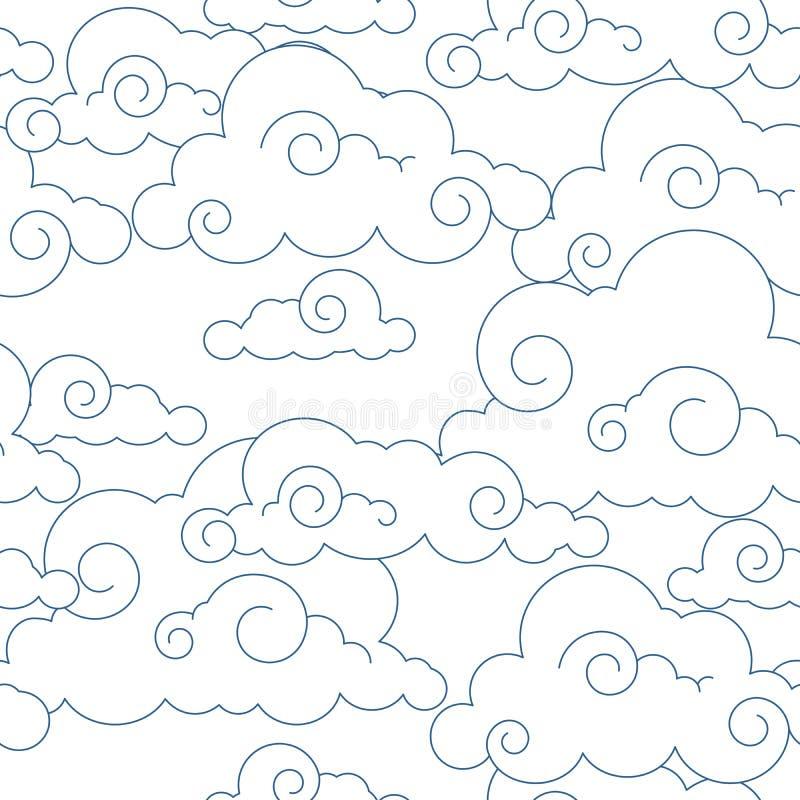 无缝的风格化云彩模式 库存例证