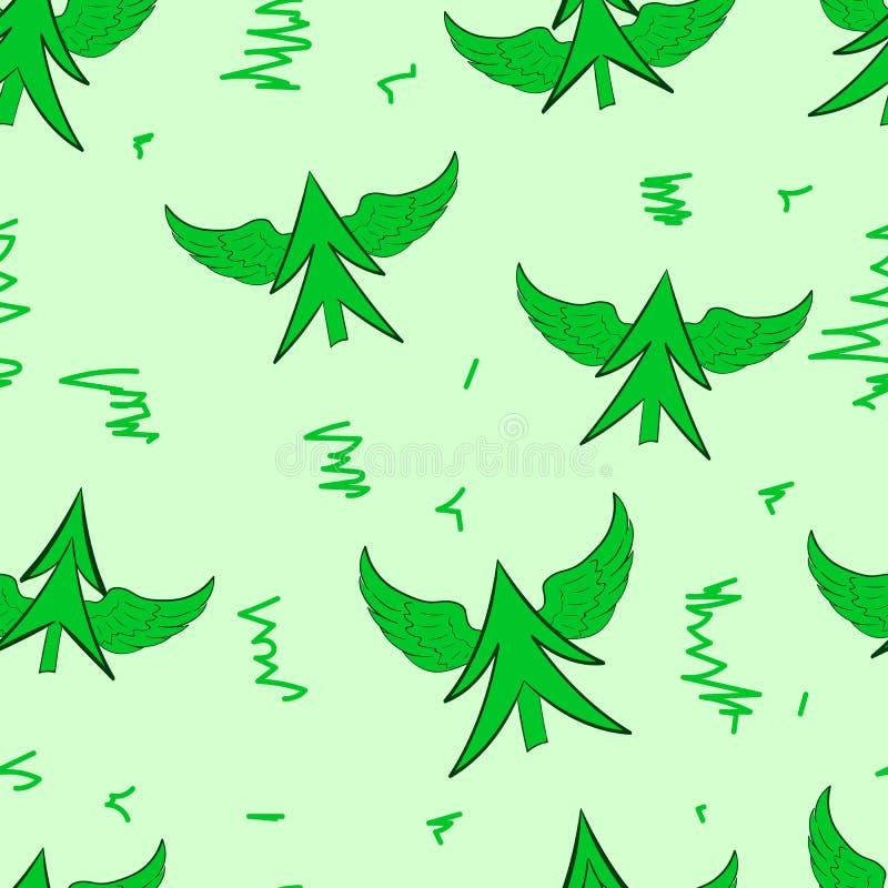 无缝的飞过的绿色冷杉木 库存例证