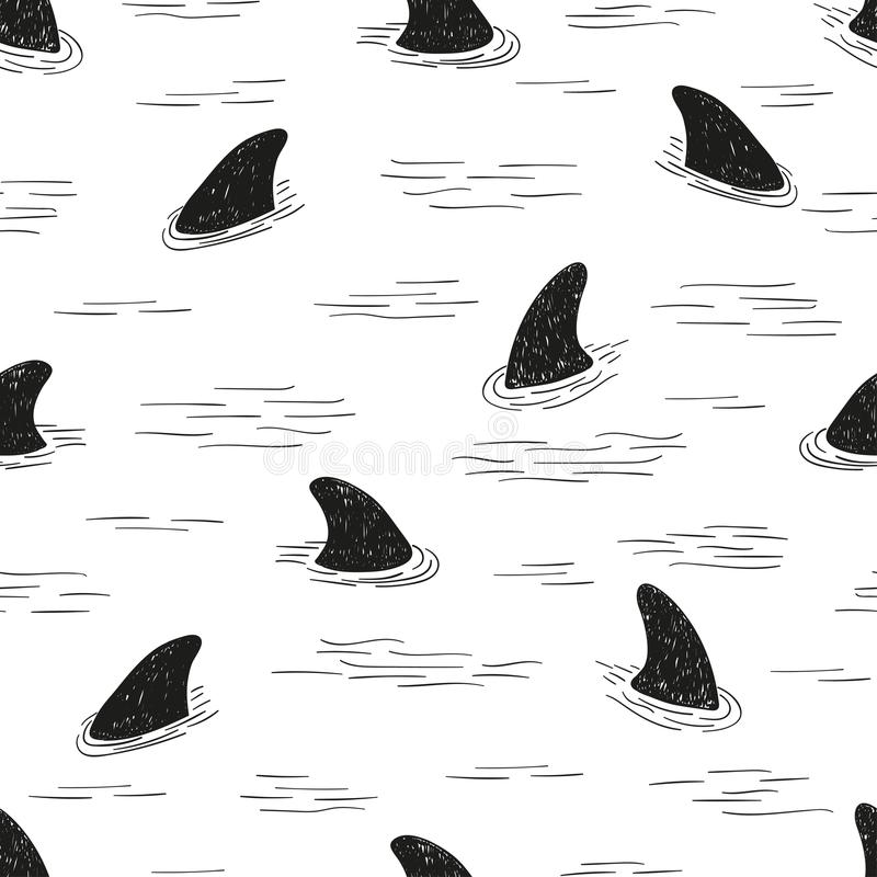 无缝的鲨鱼飞翅样式 库存例证
