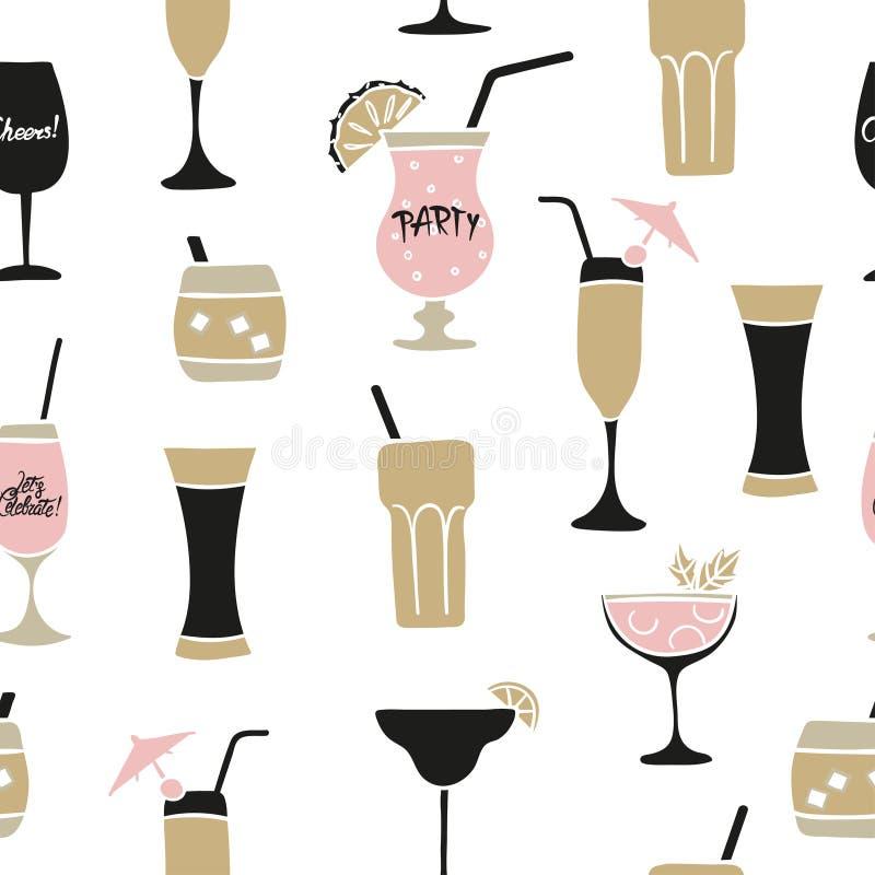 无缝的鸡尾酒样式 传染媒介酒精背景用酒,马蒂尼鸡尾酒玻璃 皇族释放例证