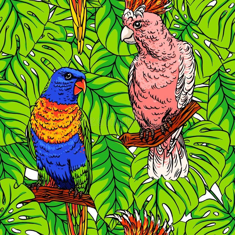 无缝的鹦鹉和棕榈 向量例证