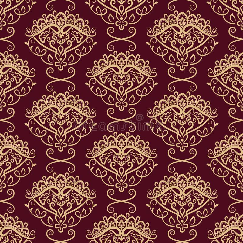 无缝的黄色和深红花卉墙纸 皇族释放例证