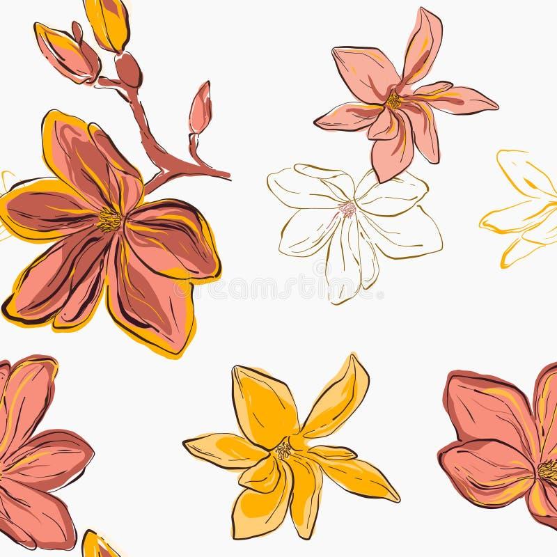 无缝的黄色木兰开花ang珊瑚开花 与叶子的传染媒介花卉样式 库存例证