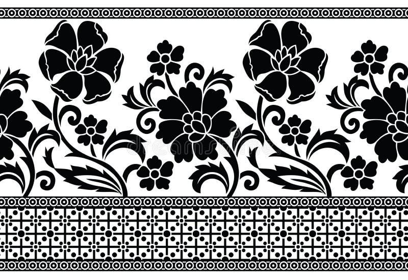 无缝的黑白传染媒介花卉边界 库存例证