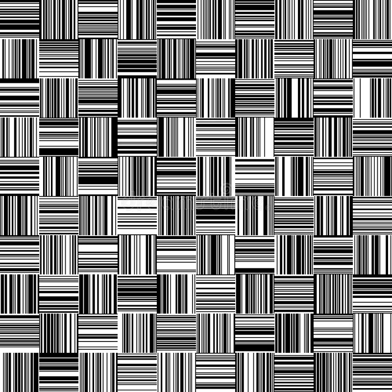 无缝的黑白平直的垂直和水平的易变的宽度条纹 皇族释放例证