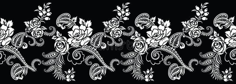 无缝的黑白玫瑰花边界 皇族释放例证