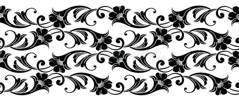 无缝的黑白维多利亚女王时代的传染媒介花卉边界 向量例证