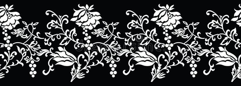 无缝的黑白花卉边界 皇族释放例证