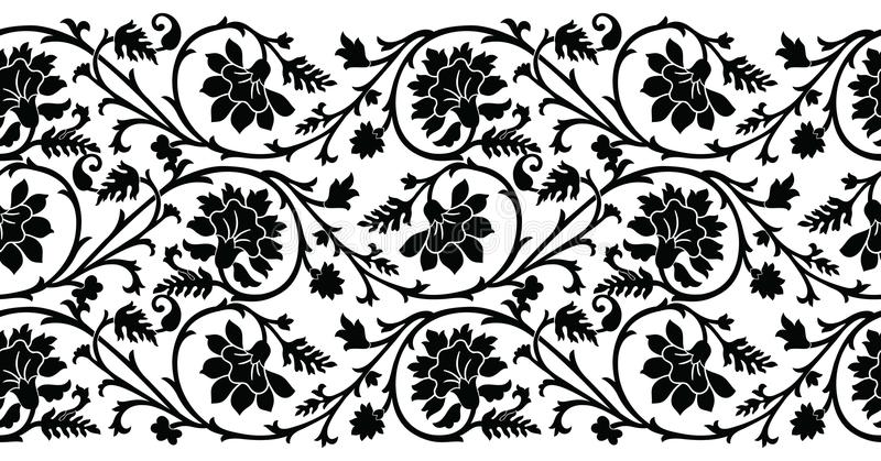 无缝的黑白花边界 库存例证