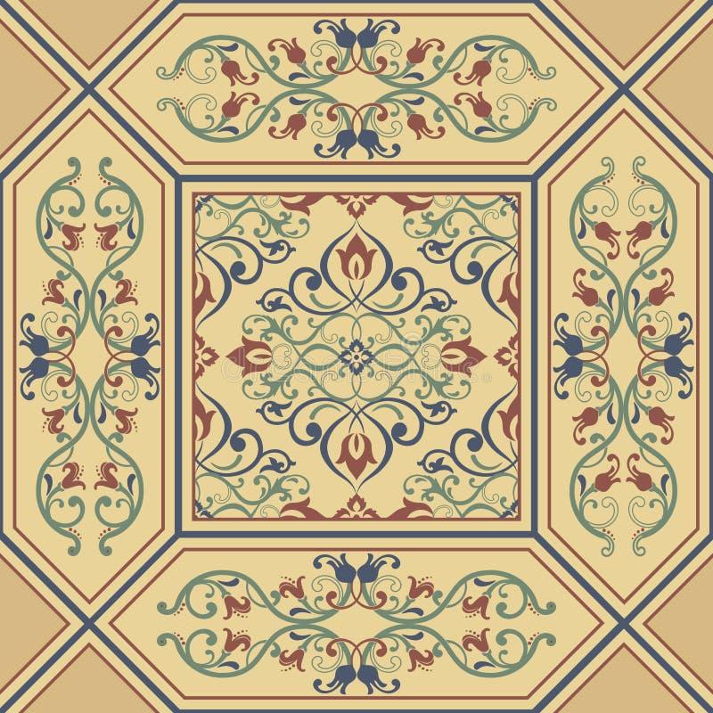 无缝的巴洛克式的金黄样式 传统经典东方装饰品 皇族释放例证