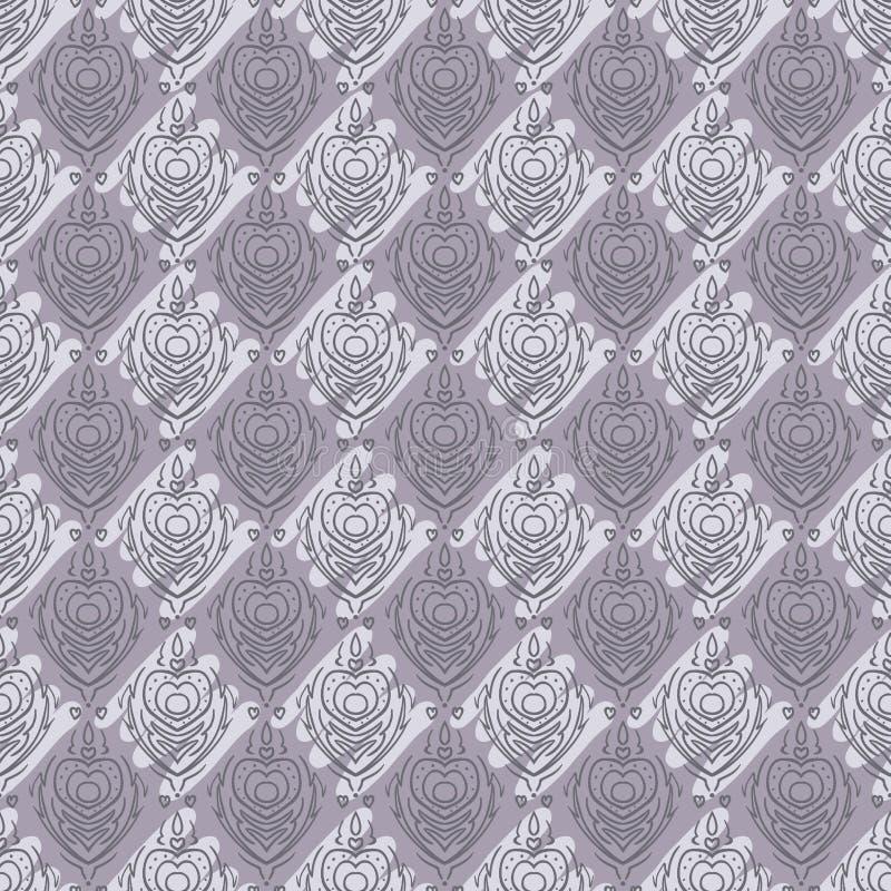 无缝的巴洛克式的锦缎紫色背景 向量例证