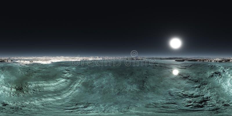 无缝的360天空海风景全景 向量例证